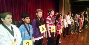 25 competitors, above, participated in the 2016 Coweta County School System Spelling Bee on January 7. The 4th through 8th grade students, representing Coweta County's 19 elementary schools and 6 middle schools, were the winners or runs-up of their school's spelling bee. This year's bee was sponsored by BB&T bank of Newnan, and held at the Centre for Performing and Visual Arts.