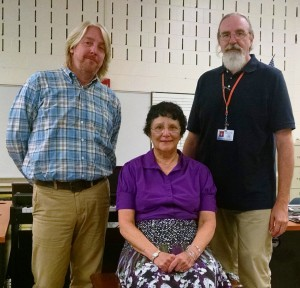 Above, left to right, are Doug Keys, Director of Strings Performance at the Central Educational Center, Centre Strings Director Lyn Schenbeck, and Pat Patten, Director of Music Technology at CEC.