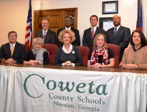 The Coweta County Board of Education has received Exemplary Board designation for the second year in a row by the Georgia School Boards Association (GSBA). It is the highest level of recognition for school boards offered by the organization.  The Board was recognized with the distinction at GSBA's 2016 annual conference in Atlanta on Friday. Coweta County Board of Education members include, above, left to right, Chairman Frank Farmer, Sue Brown, Amy Dees, Beth Barnett and Linda Menk; second row, Larry Robertson, Winston Dowdell, Superintendent Steve Barker and Assistant Superintendent Marc Guy.
